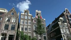 Netherlands Amsterdam gabled houses pass by - stock footage