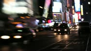 Times Square Traffic at Night Stock Footage