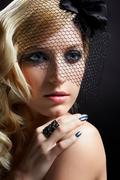 beautiful blonde in veil - stock photo