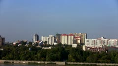 Time lapse View of Novosibirsk, the right bank of the Ob River Stock Footage