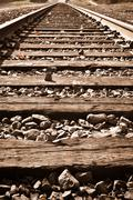 vertical railroad track in fall - stock photo