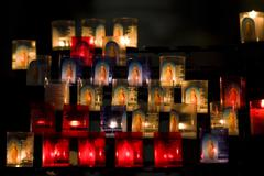 candles in church - stock photo