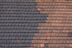Black and red tiled roof Stock Photos