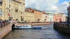 Moika River in St. Petersburg Stock Footage