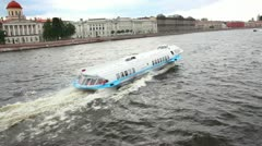 Meteor - hydrofoil boat on Neva river in St. Petersburg Russia Stock Footage