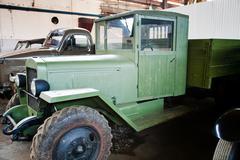 Green retro truck Stock Photos
