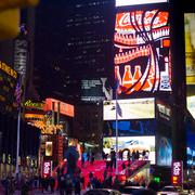 Times square and broadway theaters at night Stock Photos
