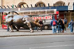 charging bull in new york - stock photo