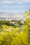 view on athens and temple of hephaestus - stock photo