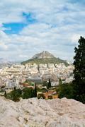 view on athens and lycabettus mount - stock photo