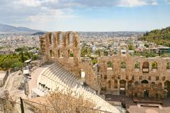 View of the theater odeon from the acropolis, greece Stock Photos