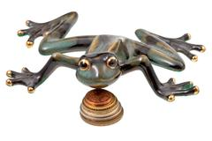 ceramic frog and coins - stock photo