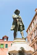 monument to playwright carlo goldoni, venice - stock photo