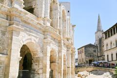 Arles amphitheatre, roman arena Stock Photos