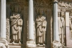 Romanesque sculptures of apostles Stock Photos
