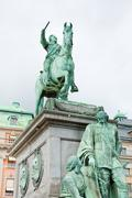 Statue of gustavus adolphus at gustav adolfs torg, stockholm Stock Photos