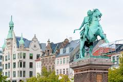 statue of absalon in copenhagen, denmark - stock photo