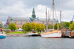 view on nordic museum from sea side, stockholm - stock photo