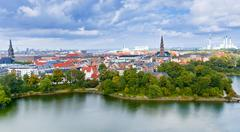 view on center of copenhagen, denmark - stock photo