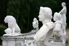 Statues in antique roman style Stock Photos