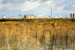 park and ostankino tv tower in the background - stock photo