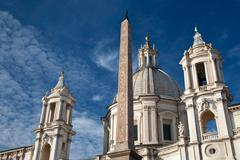 Stock Photo of egyptian obelisk and buildings  on piazza navona