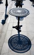 art nouveau metal table - stock photo