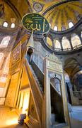 minbar in aya sophia - ancient byzantine basilica, istanbul, turkey - stock photo