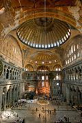 interior of aya sophia - ancient byzantine basilica - stock photo