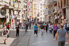istiklal avenue is one of the most famous avenues in istanbul - stock photo