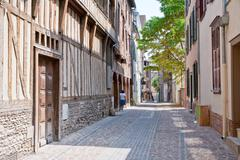 Street with half-timbered houses in in troyes, france Stock Photos