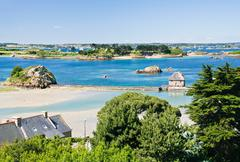 view on archipelago brehat and ile de brehat in brittany - stock photo