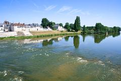 river loire in town amboise, france - stock photo