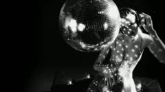 sexy gogo dancer dancing and posing discoball - stock footage