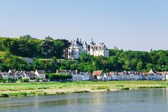 riverside town amboise on bank of loire, france - stock photo