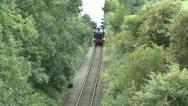 Stock Video Footage of Vintage Steam Train in the Woods, Great Whistle