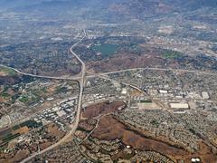 pomona, diamond bar and san dimas california aerial - stock photo