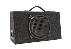 old car audio boom box woofer isolated - stock photo