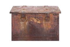 Rusty Box in White - stock photo