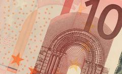 Uncirculated 10 Euro Banknote Close up - stock photo