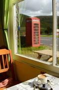 British cafe near a red phonebox Stock Photos