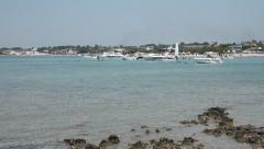 Boats in the sea in southern Italy Stock Footage