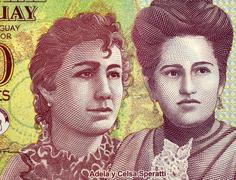 Adela and Celsa Speratti on 2000 Guaranies 2009 Banknote from Paraguay - stock photo