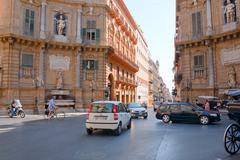 Quattro canti -  baroque square in palermo, sicily Stock Photos