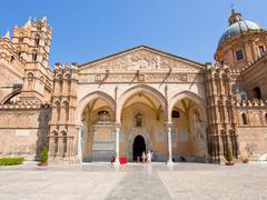 gateway in cathedral in palermo - stock photo