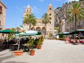 Stock Photo of urban square near cathedral-basilica of cefalu, sicily, italy
