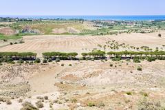 Rural view on mediterranean coast near agrigento, sicily Stock Photos