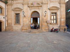 Old sicilian man in door baroque style house Stock Photos