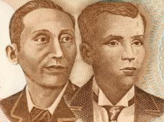 Apolinario Mabini and Andres Bonifacio on 10 Piso 2008 Banknote from Philipines - stock photo
