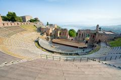 Antique amphitheater teatro greco, taormina Stock Photos